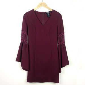 ASOS Paper Doll Maroon Flare-Sleeve Bodycon Dress